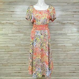 eShakti Watercolor Splash Chiffon A-Line Dress M